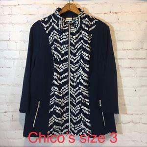 Chico's Zenergy blue white print jacket 3 XL 16